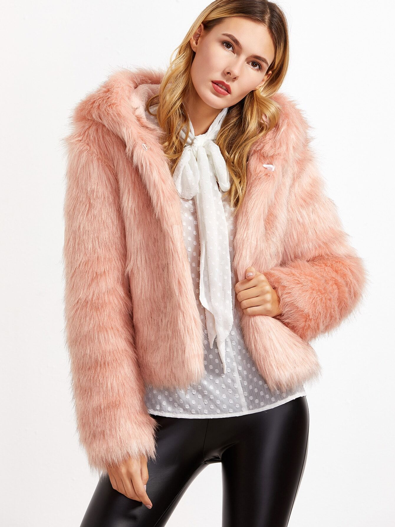 Coats Pink Faux Fur Hooded Casual Short Winter Plain Fabric has no stretch Long Sleeve Outerwear.