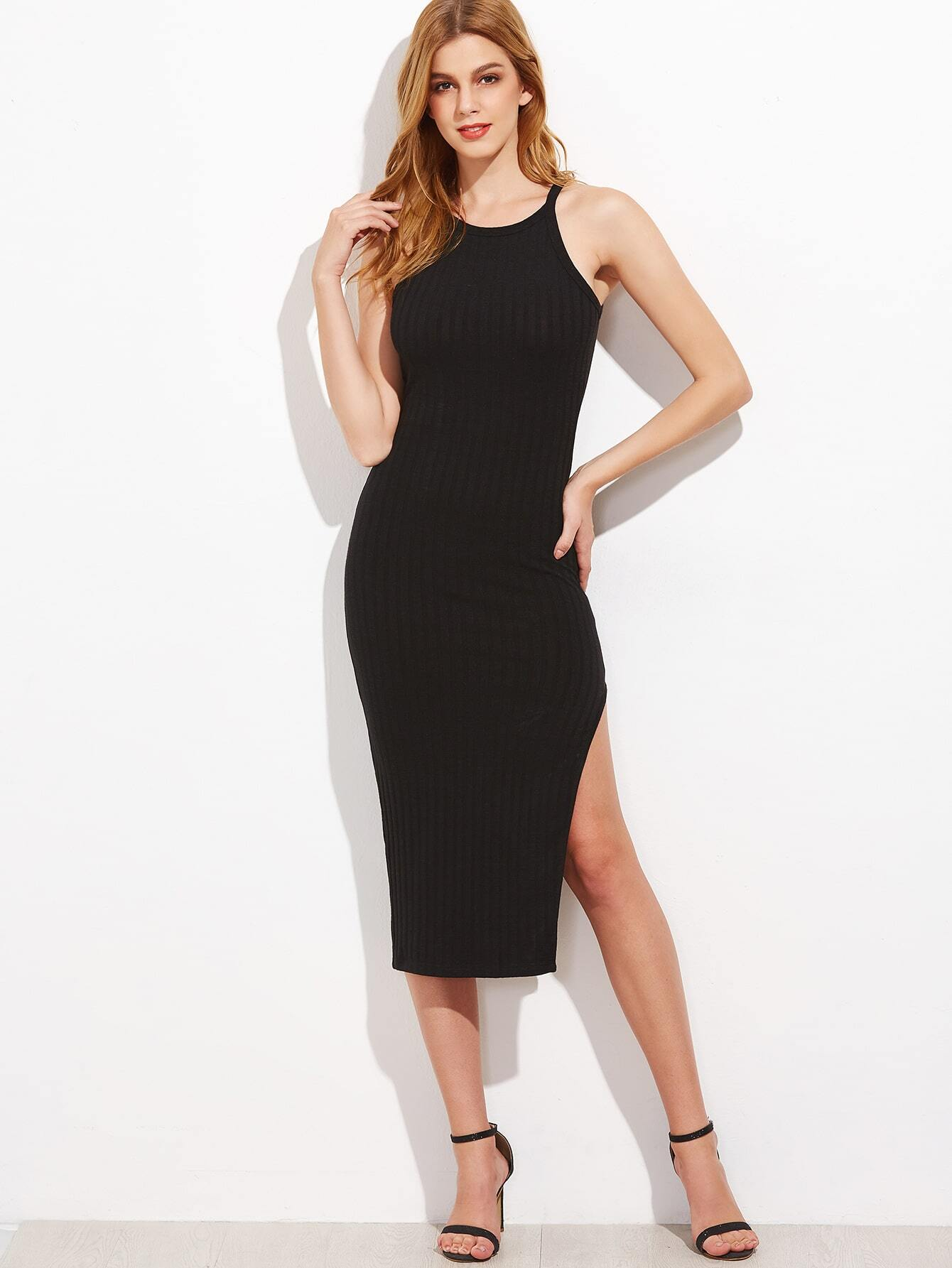 Black Side Slit Ribbed Cami Dress dress161118727