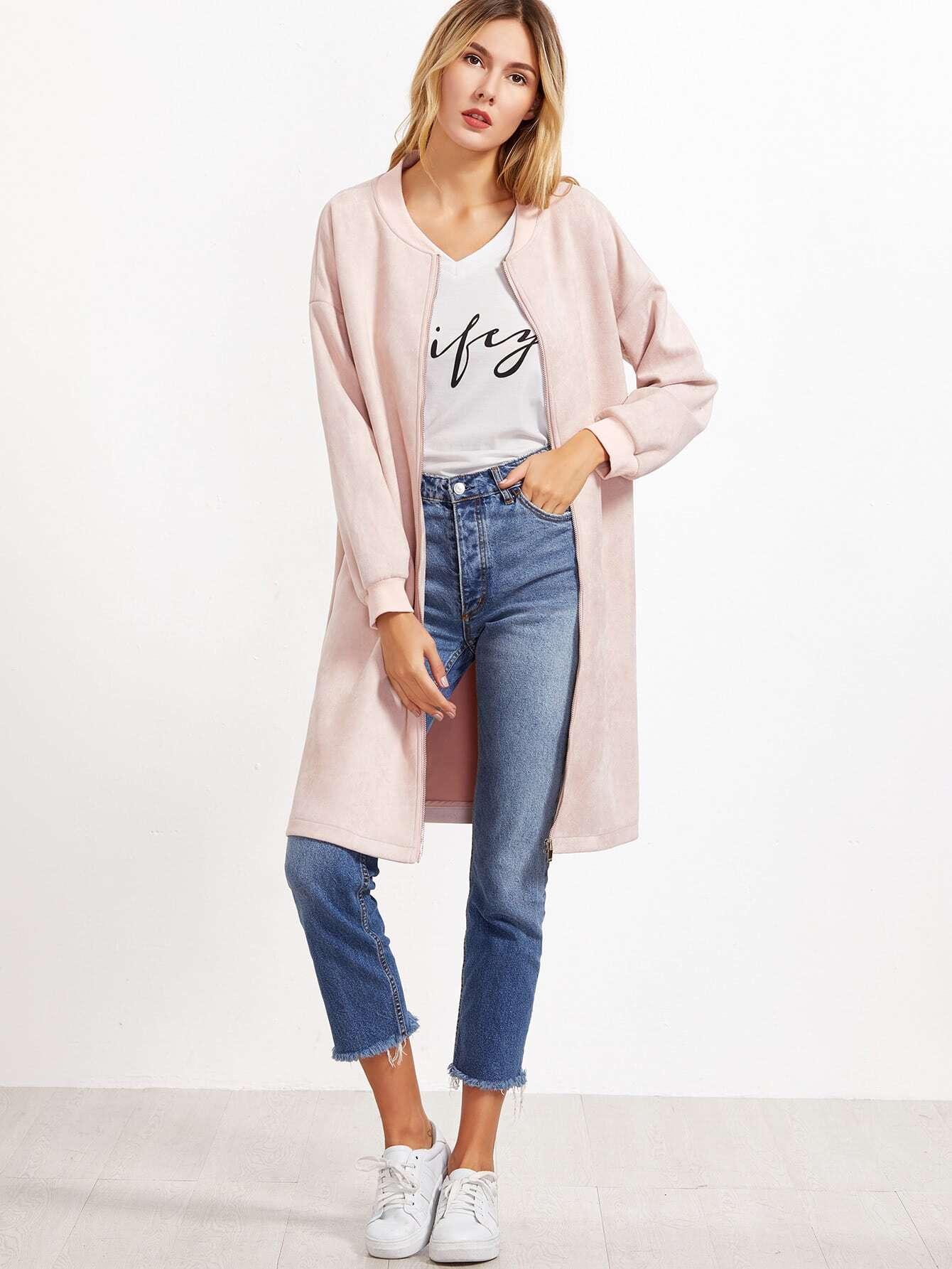 Pink Suede Zip Up Side Slit Bomber Jacket zip up jacket