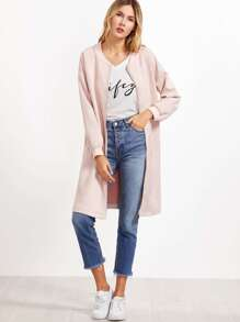 Pink Suede Zip Up Side Slit Bomber Jacket