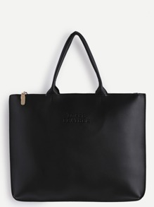 Oversized Black PU Plain Tote Bag