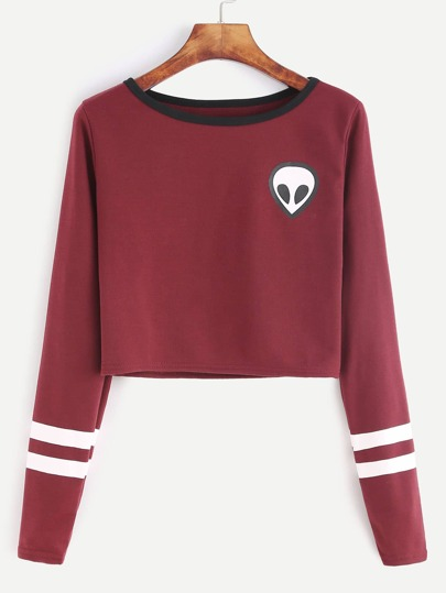 Burgundy Alien Print Striped Sleeve T-shirt