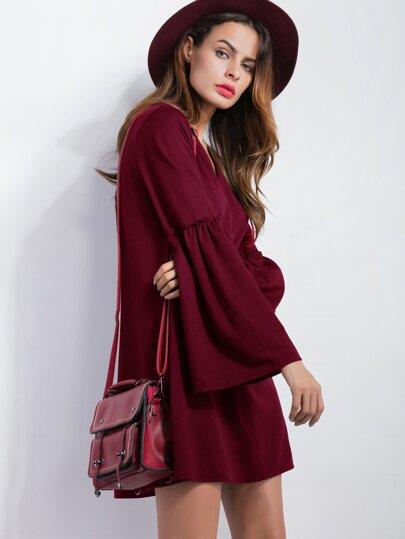 Burgundy V Neck Bell Sleeve Tunic Dress