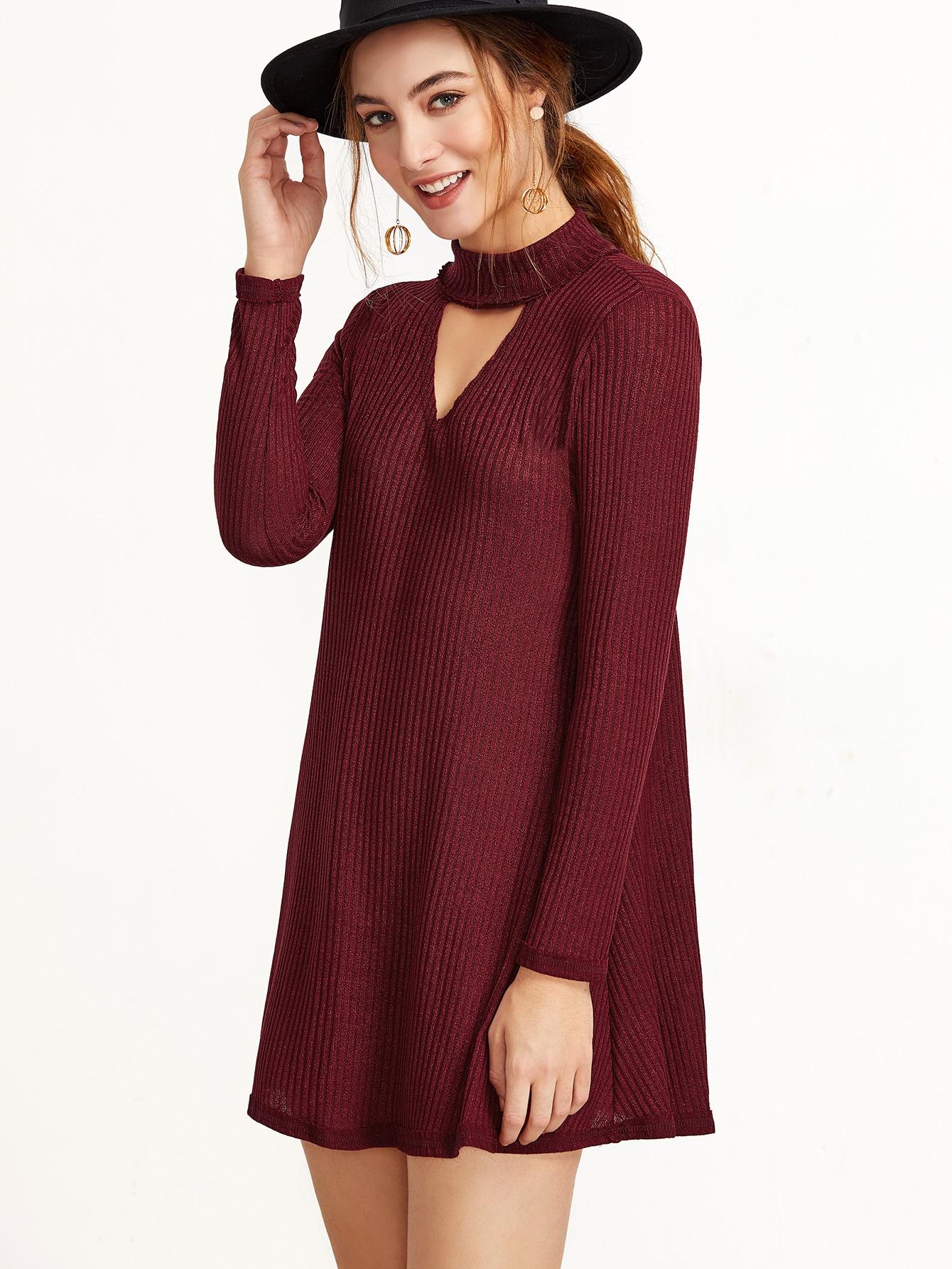 Burgundy Mock Neck Cut Out Ribbed Dress dress161111301