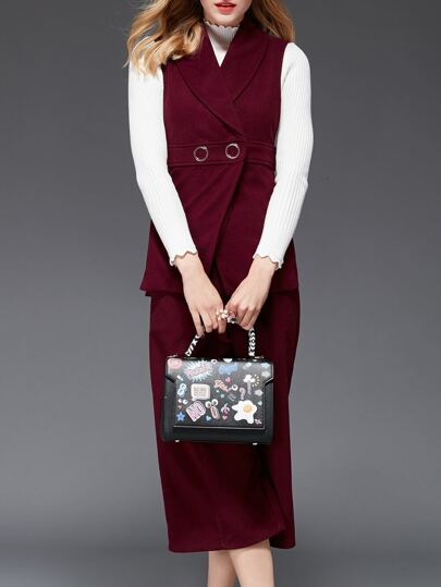 Burgundy Lapel Sleeveless Top With Pants