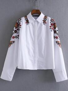 White Floral Embroidery Loose Blouse