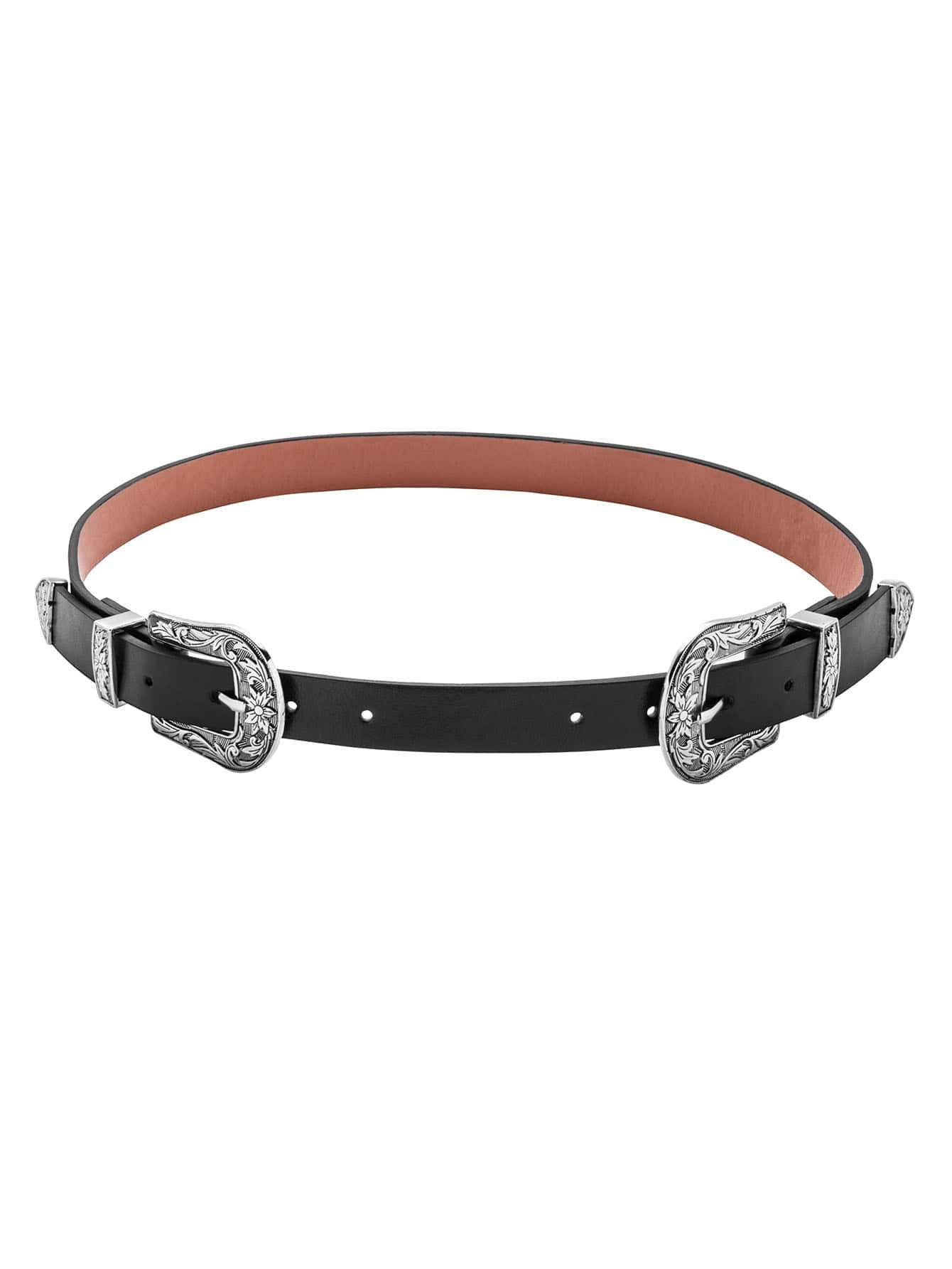 Black Contrast Double Carved Buckle BeltBlack Contrast Double Carved Buckle Belt<br><br>color: Black<br>size: None
