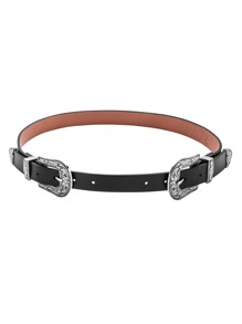 Black Contrast Double Carved Buckle Belt