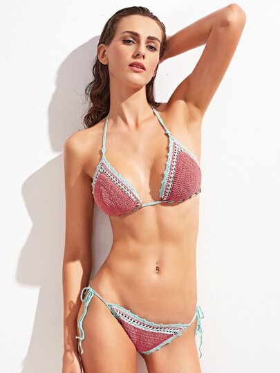 Contrast Crocheted Tie Side Triangle Beach Bikini Set