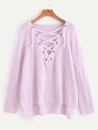 Jersey asimétrico con cordones - rosa
