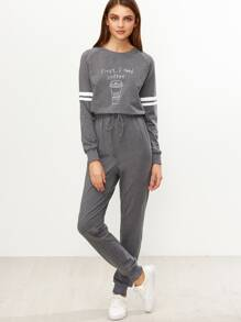 Heather Grey Graphic Print Striped Sleeve Sweat Jumpsuit