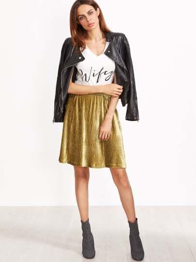 Gold Elastic Waist Textured A Line Skirt