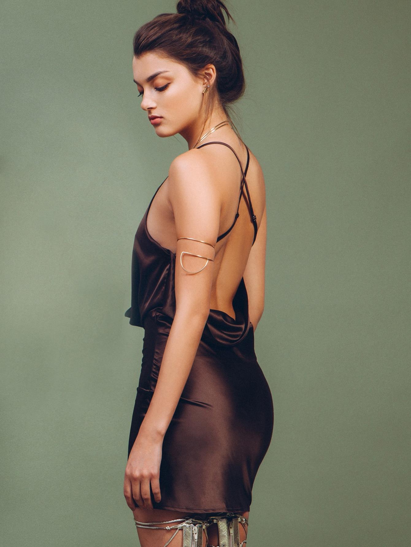 Фото Plunging Draped Neckline Open Back Cami Dress. Купить с доставкой