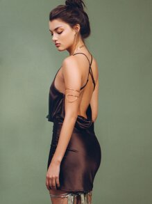 Brown Drape Neck Cami Dress