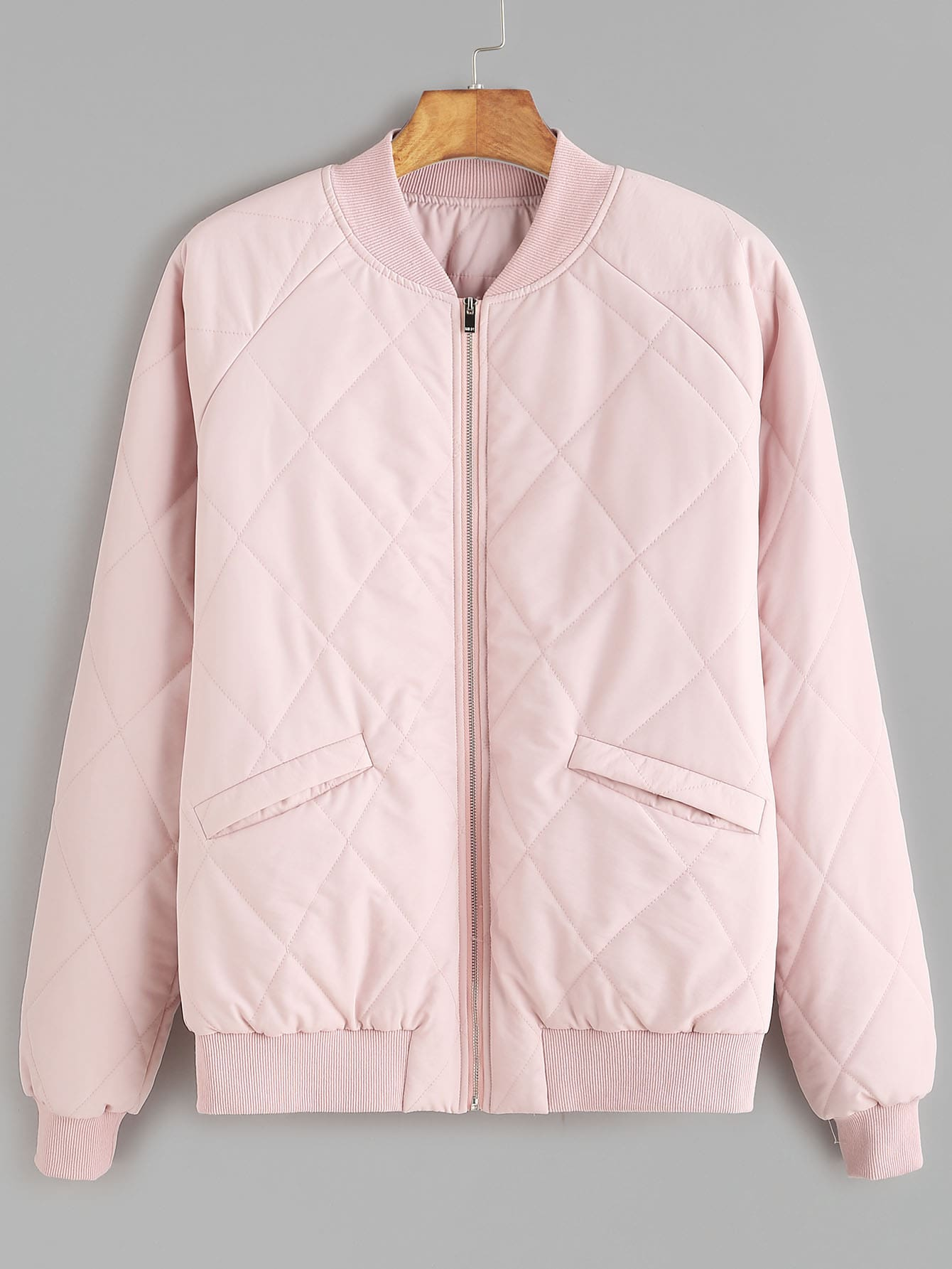 Pink Zipper Up Raglan Sleeve Quilted JacketPink Zipper Up Raglan Sleeve Quilted Jacket<br><br>color: Pink<br>size: L,M,S,XS
