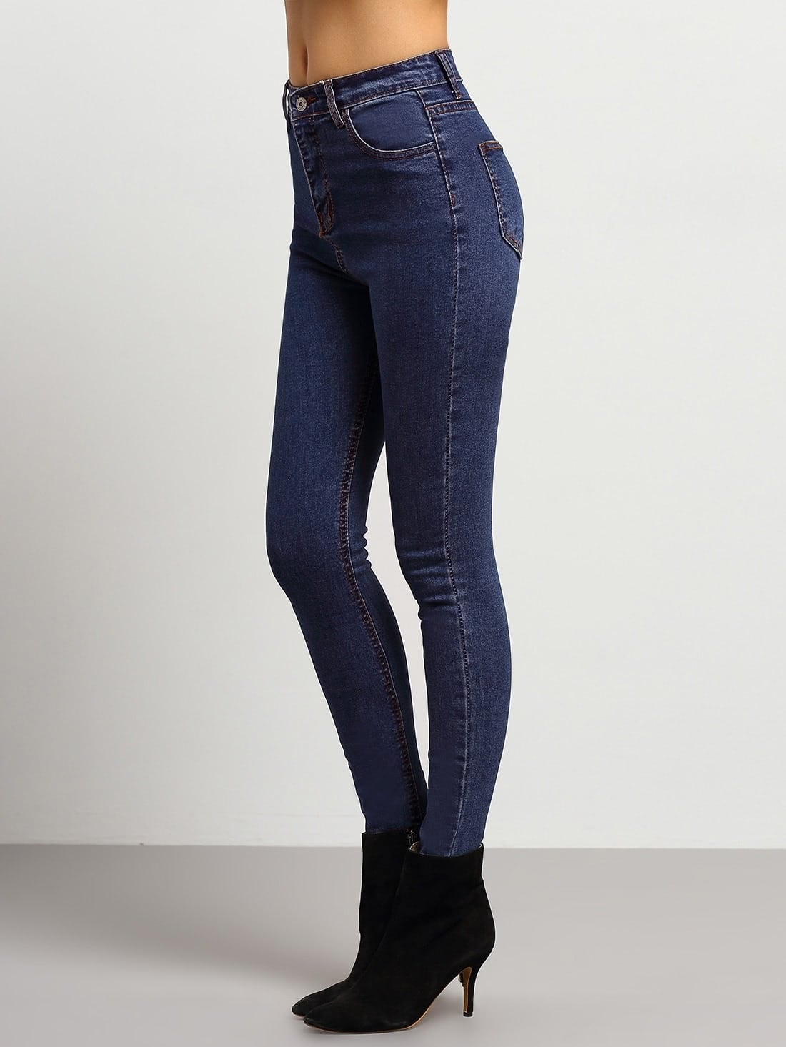 Middle waist Skinny Jeans dark blue middle waist skinny elastic ripped jeans