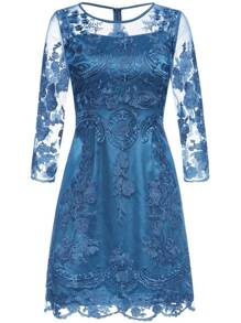 Blue Gauze Embroidered Shift Dress