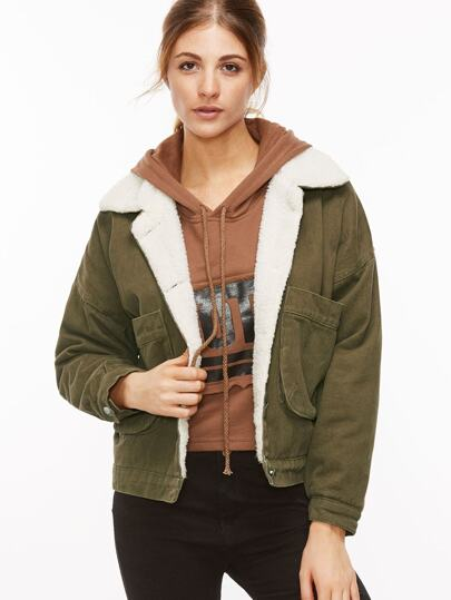 Army Green Back Letter Embroidery Patch Sherpa Ling Jacket