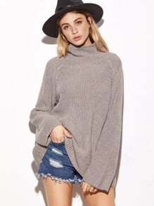 Turtleneck Raglan Sleeve Loose Sweater