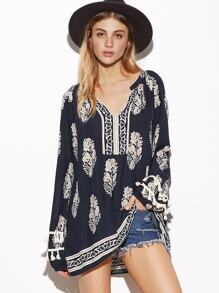 Navy Ornate Print V Neck Fringe Blouse