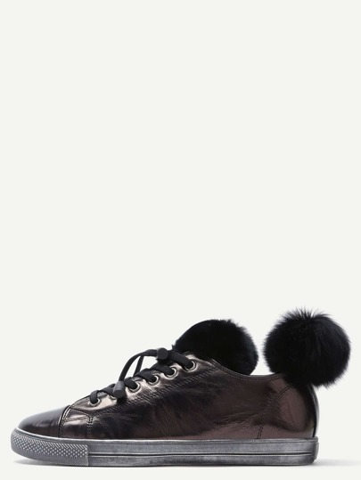 Black Fur Trim Cow Leather Low Top Sneakers