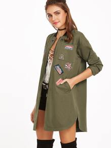 Olive Green Pocket Front Zip Up Jacket With Patch Detail