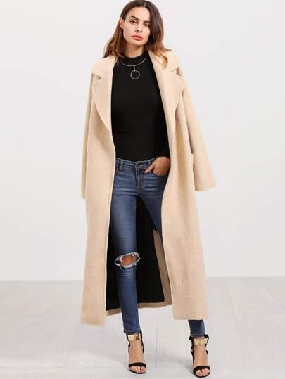 Apricot Notch Collar Pocket Front Long Coat