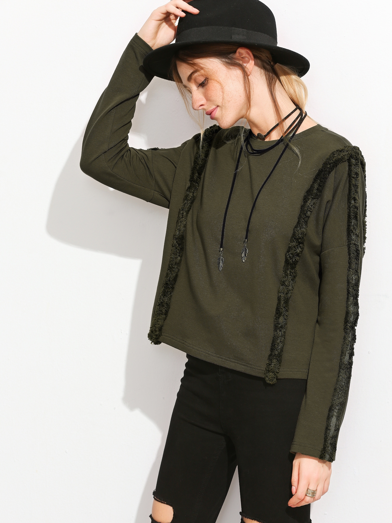 Olive Green Frayed Trim Drop Shoulder T-shirtOlive Green Frayed Trim Drop Shoulder T-shirt<br><br>color: Green<br>size: L,M,S,XS