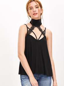 Black Lace Trim Halter Neck Strappy Cami Top