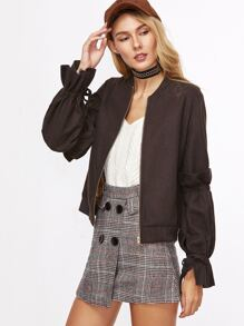 Brown Ruffle Tie Sleeve Zipper Up Bomber Jacket