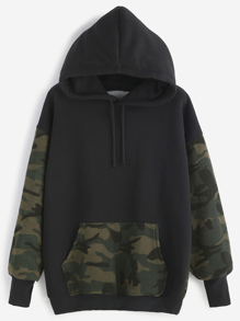 Black Contrast Camo Print Drawstring Hooded Pocket Sweatshirt