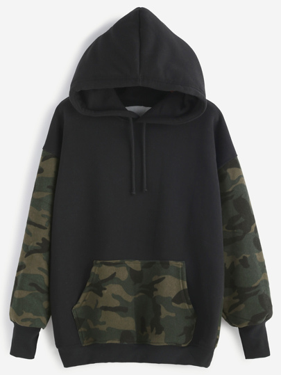 Camo Print Drawstring Hooded Kangaroo Pocket Sweatshirt