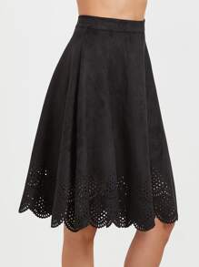 Black Suede Laser Cutout Midi Skirt