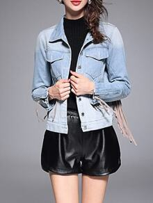 Blue Lapel Tassel Denim Coat