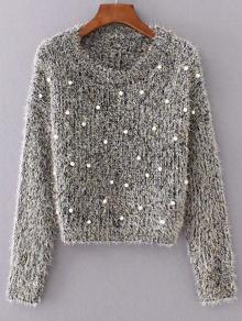 Grey Round Neck Long Sleeve Beaded Sweater