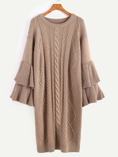 Coffee Mixed Knit Layered Ruffle Sleeve Sweater Dress