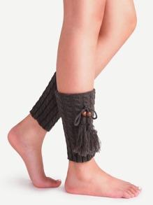 Chaussettes longues tricotées en câble avec frange - gris foncé