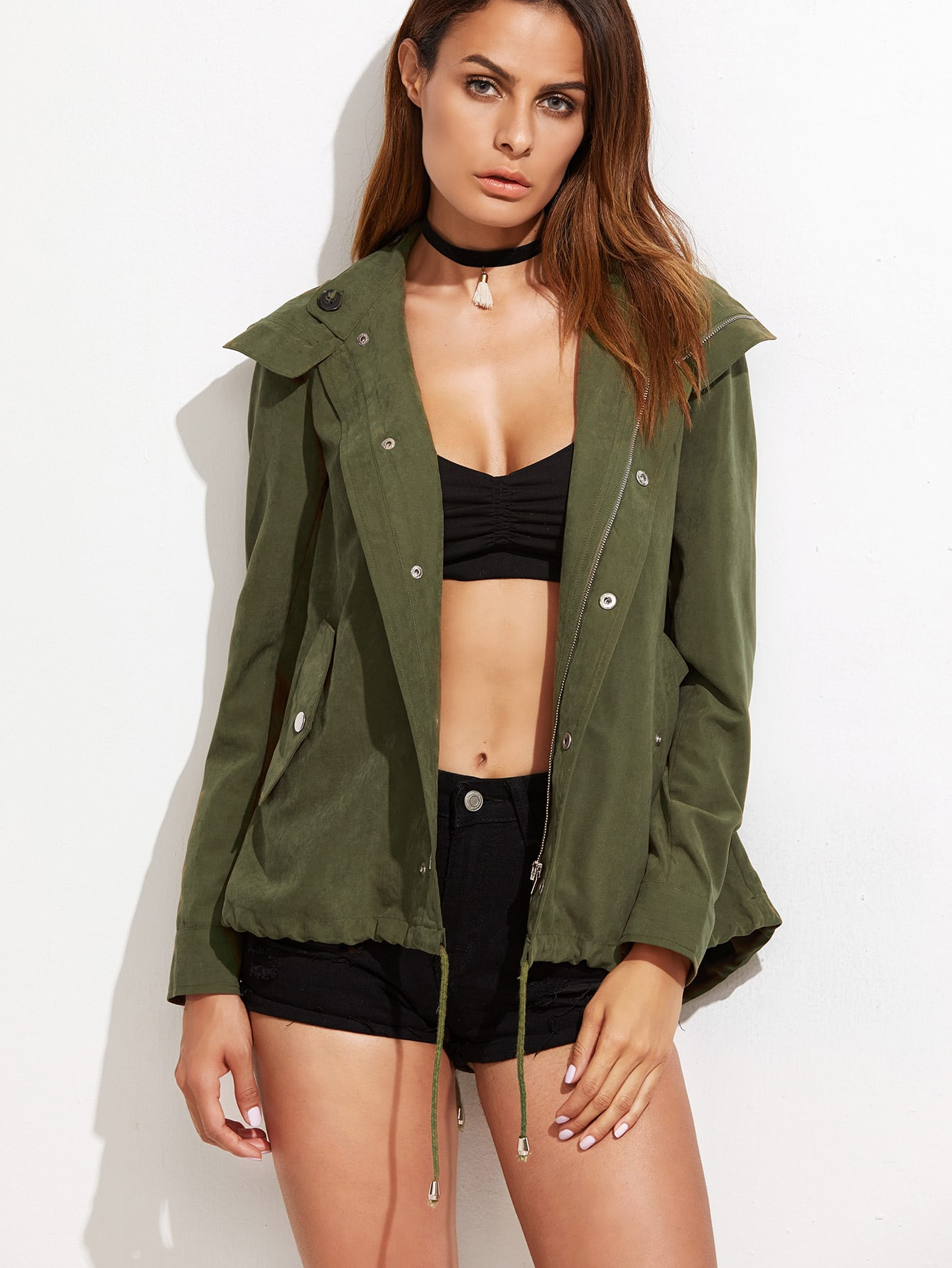 Olive Green Hidden Zip Hooded Drawstring JacketOlive Green Hidden Zip Hooded Drawstring Jacket<br><br>color: Green<br>size: L,XS