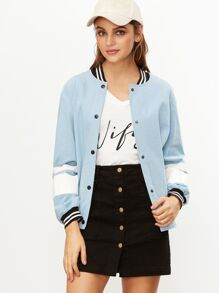 Blue Striped Trim And Sleeve Baseball Jacket
