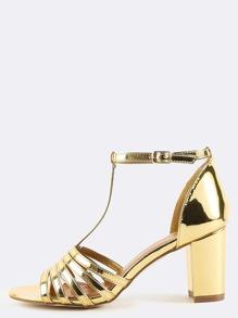 T-Strap Metallic Chunky Heels GOLD