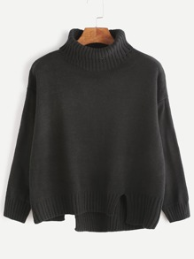 Black Roll Neck Drop Shoulder Asymmetric Hem Sweater