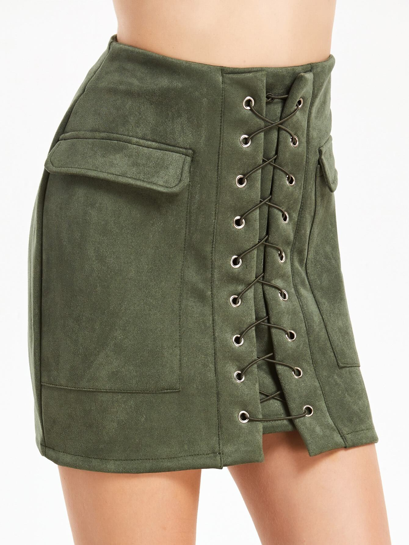 Lace Up Eyelet Dual Pockets Skirt