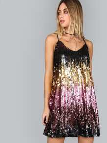 Color Block Cutout Back Sequin Cami Dress