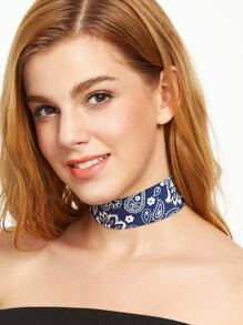 Blue Paisley Print Wide Choker Necklace