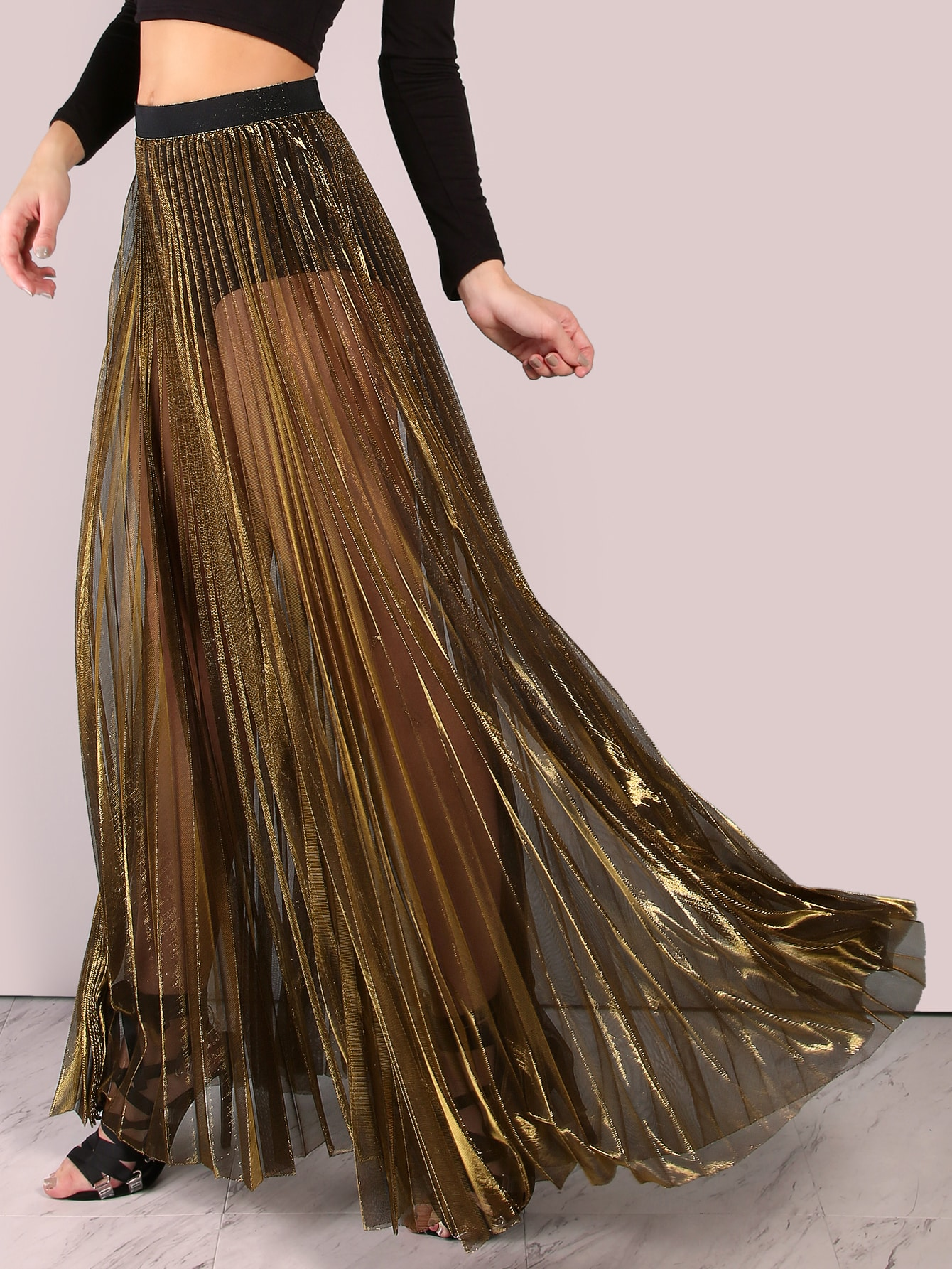 Sheer Metallic Pleated Maxi Skirt GOLD -SheIn(Sheinside)