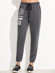 Pantalones deportivos con estampado - gris