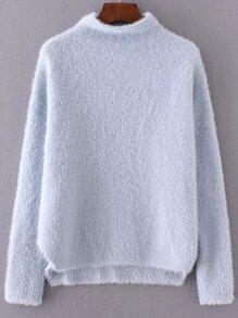 Blue Mock Neck Dip Hem Sweater
