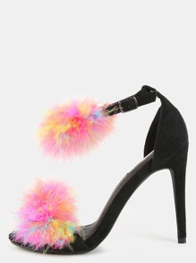 Multicolor Feather Single Sole Heels MULTI