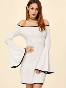 White Contrast Binding Bell Sleeve Off The Shoulder Dress