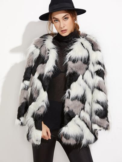 Patchwork Open Front Faux Fur Coat